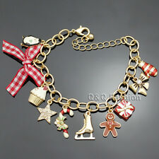 Gold Chistmas Charms Ice Figure Skate Shoe Star Bowknot Bangle Bracelet Gift W7