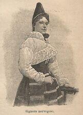 A9535 Signora norvegese - Xilografia - Stampa Antica del 1906 - Engraving