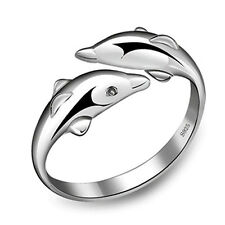 Hot Sale 925 Sterling Silver Double Dolphin Opening Adjustable Rings Gift New