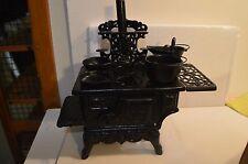 Vintage Crescent Salesman Sample Cast Iron Large Wood Cook Stove w/ Pots Pans