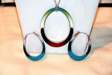 FOSSIL BRAND LOT set necklace hoop earrings blue silver tone Reversible pendant.