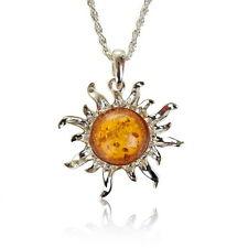 Carved Sun Flower Yolk Baltic Faux Amber Sweater Necklace Pendant Graceful
