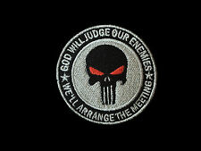 PUNISHER GOD WILL JUDGE OUR ENEMIES USA TACTICAL MORALE w/HOOK FASTENER PATCH