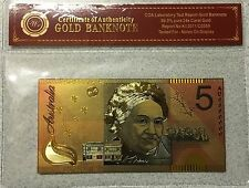 Australian $5 Federation 24k GOLD 99.9 Five Dollars Colourised Poly Banknote