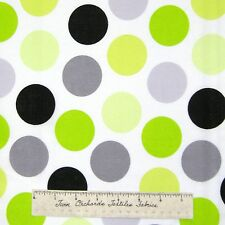 "Polka Dot Fabric - Black Gray Yellow Green 2"" White - Cranston VIP Cotton YARD"