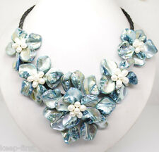 """new blue mother of pearl shell flower necklace 18""""long"""