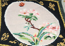 VINTAGE FLORAL NEEDLEPOINT, HANDWORK, EXCELLENT FOR FRAMING, c1940