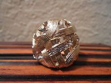 Rhinestones Woven Style Gold Tone Cocktail Fashion Ring sz 8
