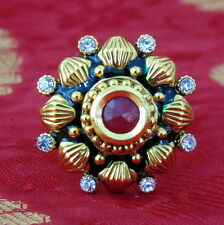South Indian Ring Jewelry Adjustable Gold Plated Polki Tradititional Ethnic Ruby