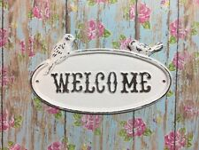 """Decorative Cast Iron Shabby Chic """"Welcome"""" With Birds Wall Door Decor White"""