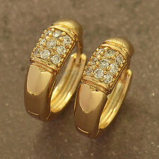 Shiny 9K Yellow Gold Filled Swarovski crystal Womens Hoop Earrings F5384