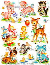 A6 EASTER ANIMALS CHILDRENS KIDS DECAL SHABBY CHIC IMAGE TRANSFER VINTAGE LABEL