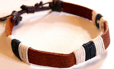 BRACELET CUIR MARRON BLANC NOIR HOMME/FEMME BIJOUX LEATHER BLACK BROWN