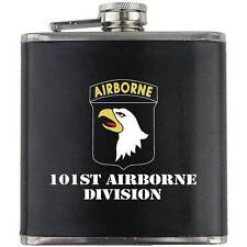 Army 101st Airborne Division Veteran Full Color Groomsman Gift Leather Flask