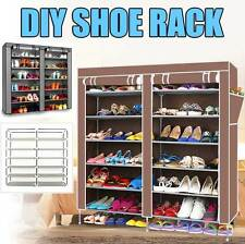 2 Doors Cover 7 Tier Shoes Cabinet Storage Organizer Shoe Rack BROWN/SILVER
