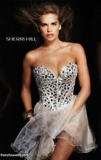 Sherri Hill dress style:1403 size:6 Color: Nude/Silver
