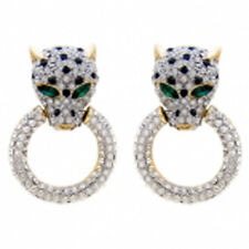 Butler and Wilson Medium Clear Crystal Leopard Head Ring GOLD Tone Earrings NEW