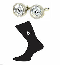 Masonic Design Round Framed Masonic Cufflinks & Mens Masonic Socks G Gift Set