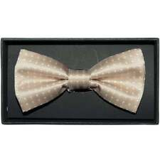 Handmade Champagne And White Polka Dot Mens Bow Tie