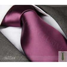 NEW ITALIAN DESIGNER AUBERGINE PURPLE SILK TIE