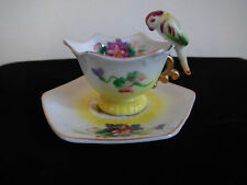 Vintage Miniature Tea Cup and Saucer, Gold Trim, Parrot Bird Handle