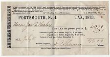 1873 PORTSMOUTH NEW HAMPSHIRE Tax Receipt HALEY Shannon TAXES Government NH