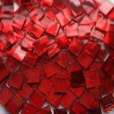 100 RED MIRROR MOSAIC TILE GLASS TILE ART CRAFT SUPPLIES MADE IN  USA