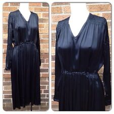 Vintage 1930s Black Satin Art Deco Pleated Party Dress SMALL Long Sleeve