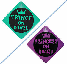 Baby Prince Princess on Board Child Safety with suction Cup Vehicle Car Signs