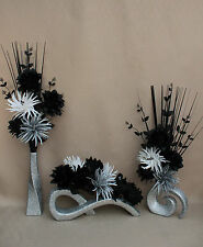 ARTIFICIAL SILK (SET OF 3) BLACK,WHITE & SILVER FLOWERS IN SILVER GLITTER VASES