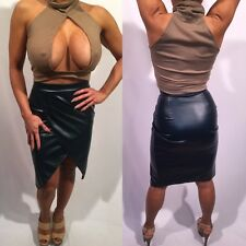Connie's Brown Crop Top and Faux Leather Skirt Set  Both size S