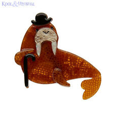 Beautiful Brown OLD MAN WALRUS Resin Brooch by Erstwilder * OCEAN VIBES