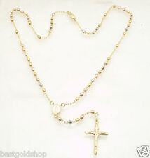 "17"" 3mm"" Rosary Chain Medallion Cross Crucifix Necklace Real 10K Tri-Color Gold"