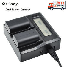 LCD Dual 2-Battery Charger For Sony NP-FW50 A5100 A6300 A7R A7S A7 II NEX7 AC/D