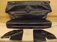CLASSIC MINI REAR SEAT COVER SET - BLACK VINYL WITH WHITE PIPING - SCOV-BKW