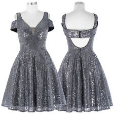 Dark Grey 16 Sequins Short Formal Prom Evening Ball Gown Wedding Cocktail Dress