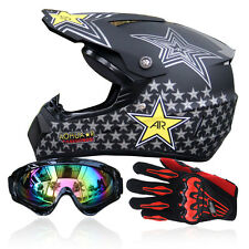 DOT Off-Road ATV Helmets Dirt Bike Gear Motocross + Goggles+Gloves S-XL