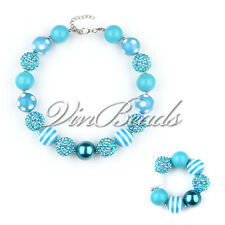 New Blue Chunky Beads Bubblegum Gumball Girls Jewlery Necklace&Bracelet Set