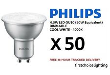 50 x Philips Master 4.3W (50W) Bombillas Lámparas Spot LED GU10 Regulable Blanco frío