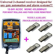 Universal 2-ch rolling & fixed code receiver 433,92MHz + 5 remotes for gates
