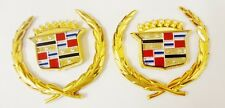 "2 NEW! Cadillac  ""WREATH & CREST"" Emblems! 24K GOLD PLATED!"