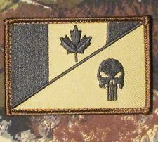 CANADA FLAG PUNISHER SKULL TACTICAL MILITARY MORALE FOREST VELCRO PATCH