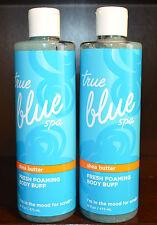 2 BATH & BODY WORKS TRUE BLUE SPA FRESH FOAMING BODY BUFF SHEA BUTTER SCRUB WASH