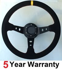 BLACK SUEDE CORSICA DRIFT DISHED DRIFTING CAR RALLY DEEP DISH STEERING WHEEL NEW