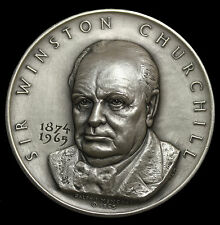 1965 Sir Winston Churchill Silver Medal Medallic Art Co MACO By Ralph Menconi