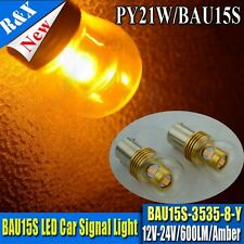 2X Error Free Amber Yellow 8SMD 3535 BAU15S 7507 LED Bulb For Turn Signal Lights