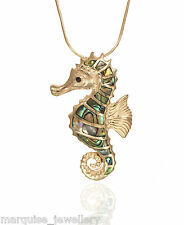 "925 Sterling Silver Seahorse Pendant & 18"" Snake Chain. Abalone."