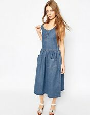 Asos denim pinafore dress UK8 BNWT 100% cotton