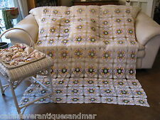Vintage Green White Purple Crochet Pansy Floral Bedspread Queen Full 90x60