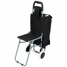 Trolley Bag With Folding Chair And Black Rolling Wheeled Shopping Cart